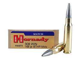 Hornady Match  308 Winchester 168 Grain Hollow Point Boat Tail Moly